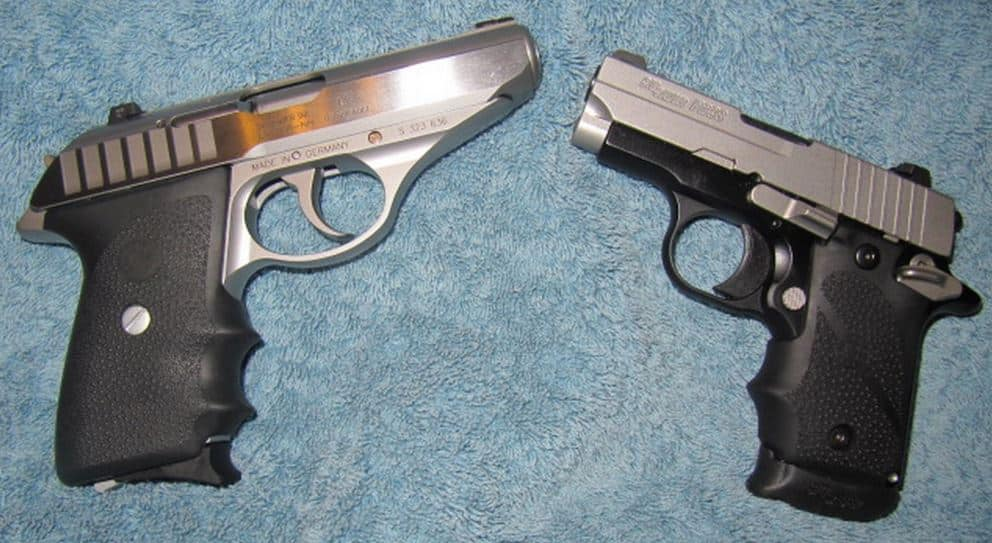 Sig Sauer .380s: P232 (left) and P238