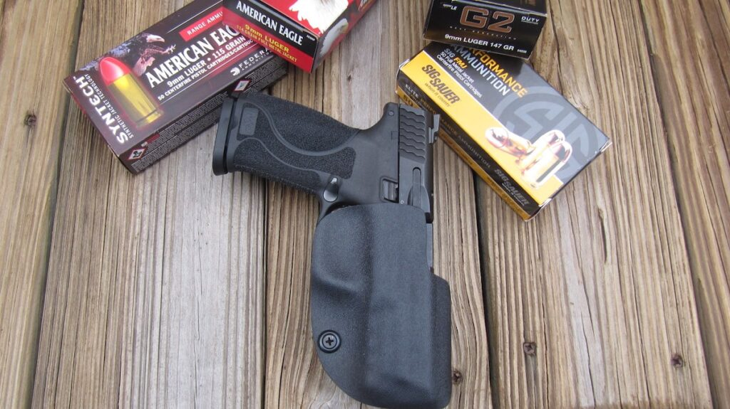 "Smith-Wesson M&P M2.0 9mm in Alabama Holster's ""The Ranger"" with American Eagle, Sig Sauer & Speer Ammo"