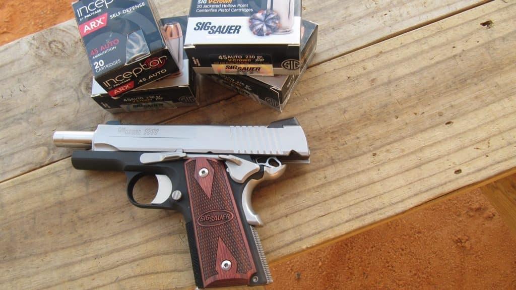 Sig Sauer 1911 C3 SAO .45 Pistol with Sig Sauer V-Crown JHP Ammo & Polycase Inceptor ARX Ammo