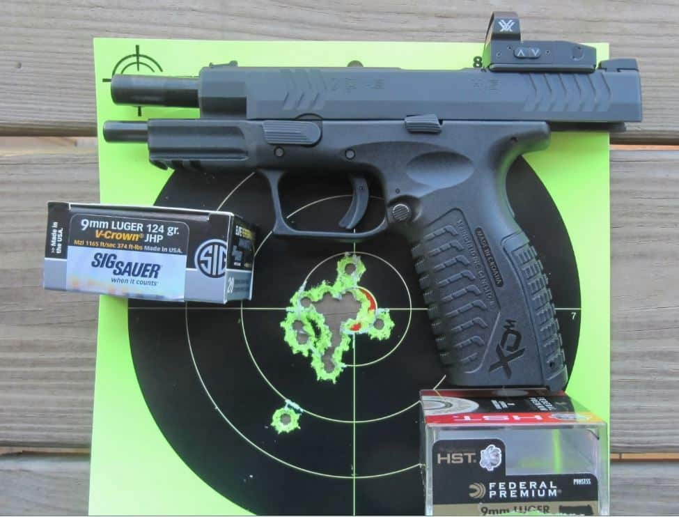 Springfield XD(M) OSP with RD- 19 Target Hits Fired Rapid Fire at 7 yards (after zeroing & practice)