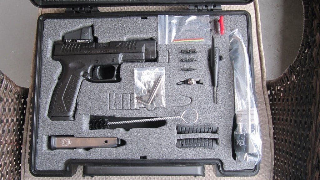 XD(M) OSP 9mm Pistol with Hard Case, 3 RD Mounting Plates, Tools, Green FO, Backstraps, Lock, Brush, Manual
