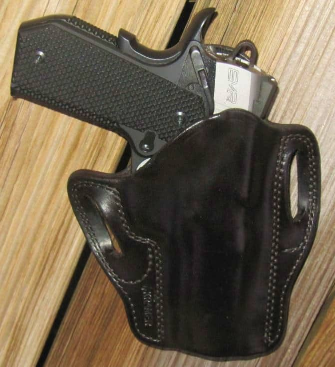 Springfield EMP4 Contour with Kramer Leather's Horsehide Scabbard Pancake Holster Tucked Tight for Concealment