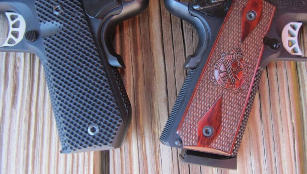 EMP4 Contour (left) with Bobtail G-10 Grips/Flush Mag & EMP4 Standard (right) with Cocobolo Wood Grips/Slam Pad Mag