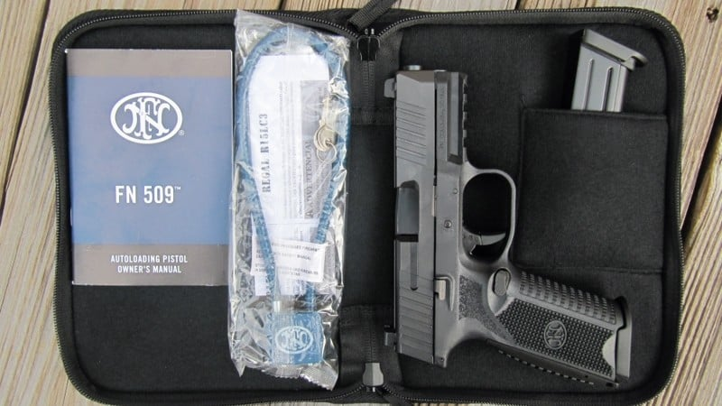 FN 509 in Softside Case with Owner's Manual, Lock, Extra Backstrap, and Extra Mag