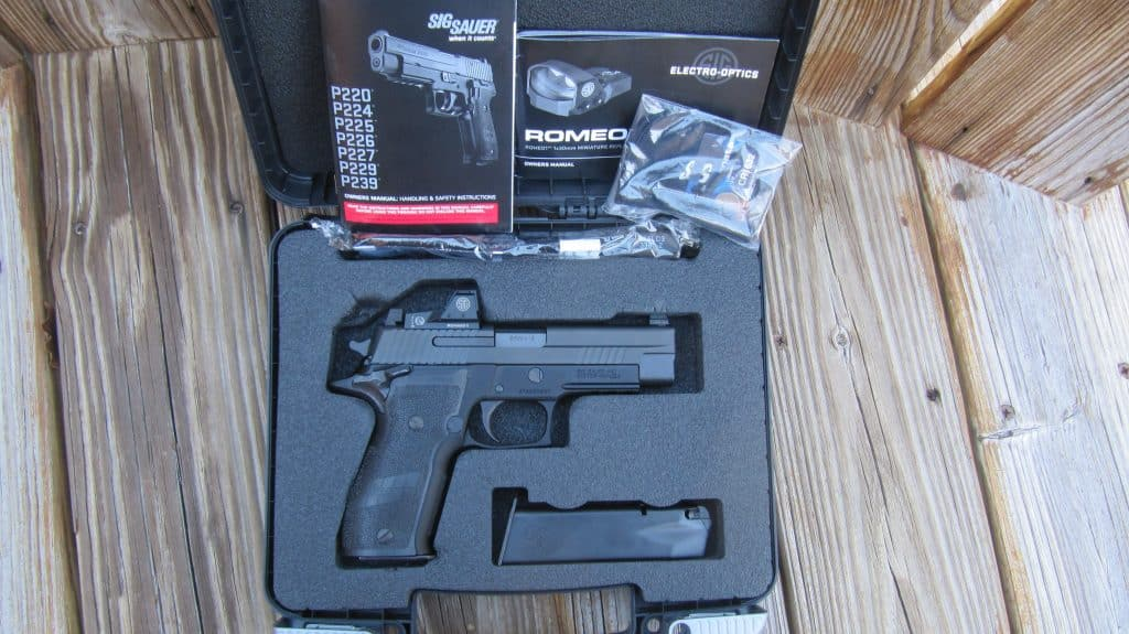 Sig Sauer P226 & Romeo1 MRDS- Hard Case 2 Mags, Lock, Sight Cover, 2 Manuals for Optic & Pistol, Tools, etc.