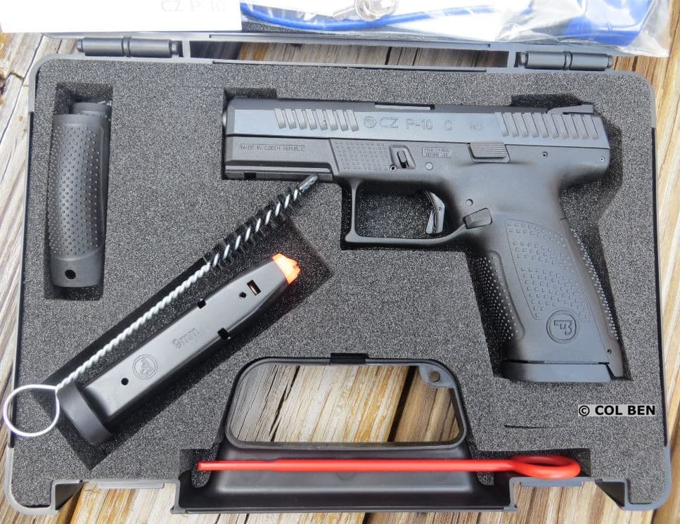 CZ P-10 C in Hard Case with Owner's Manual, Lock, 2 Extra Backstraps, Extra Mag, Brush, Tools, & Rod