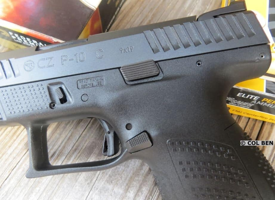 CZ P-10 C - Trigger, Enlarged Mag Release, Slide Lock, Serrations, & Grip Texturing