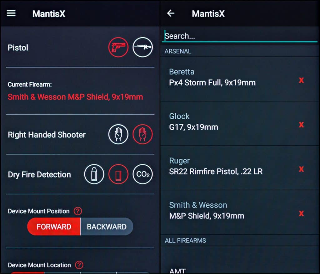 MantisX setup screen