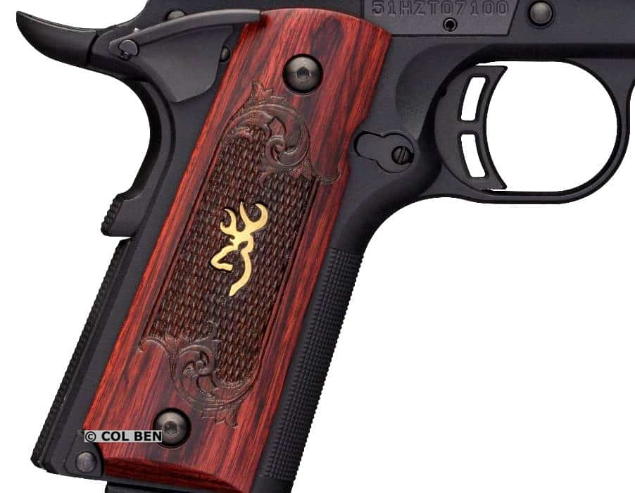 Browning 1911-380 Grip Safety, Beavertail, Skeletonized Trigger, and Custom Thin Rosewood Grips