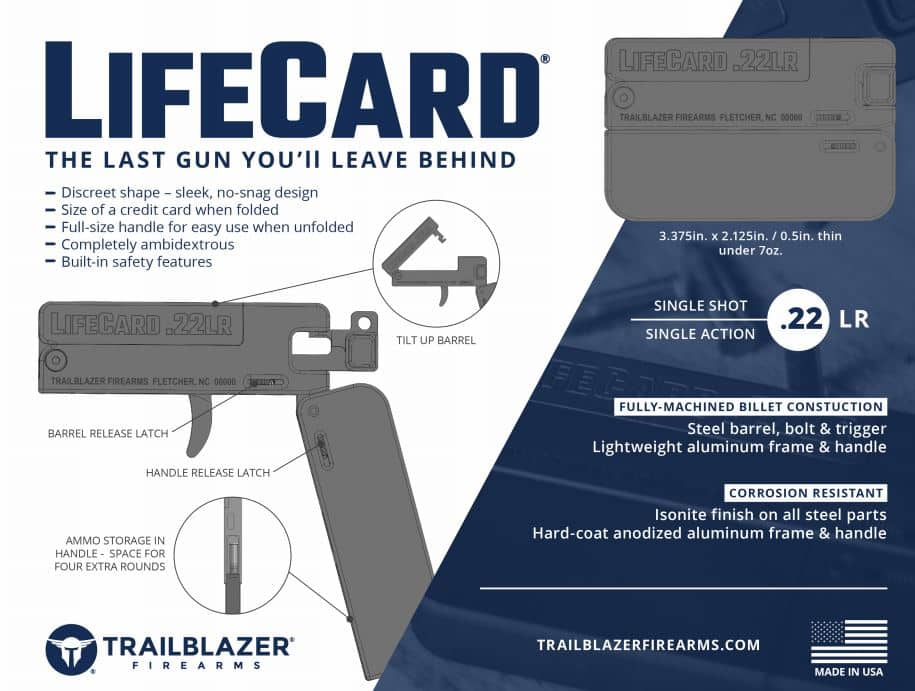 Trailblazer LifeCard .22LR Pistol- SPECS-Credit Card Size Single-Shot