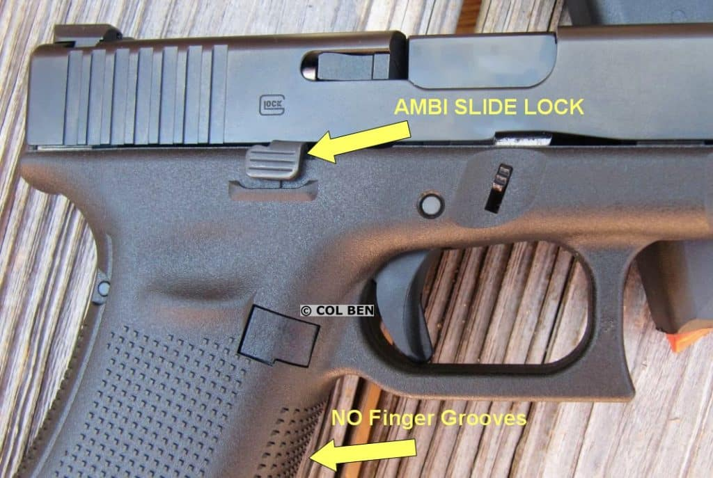 Glock 17- Gen 5 Right Side- Ambidextrous Slide Lock/Stop & No Finger Grooves