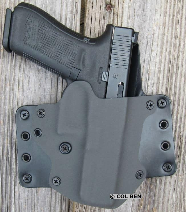 Blackpoint Tactical Leather Wing OWB Hybrid Kydex and Leather Holster with Glock 17 Gen 5
