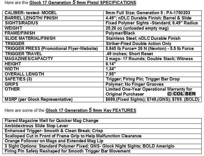 G17 Gen 5 SPECS and FEATURES CHART
