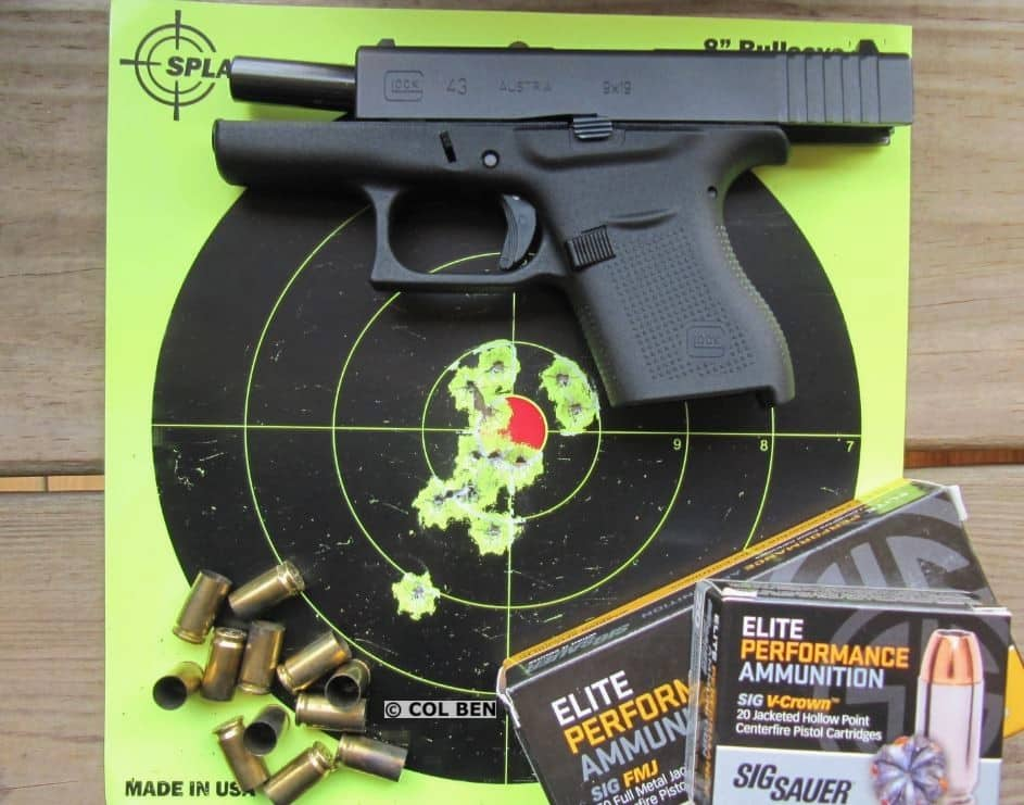 Target Hits- 12 Rounds at 5 Yards Fast Fire with Mag Change with Glock 43 9mm Pistol