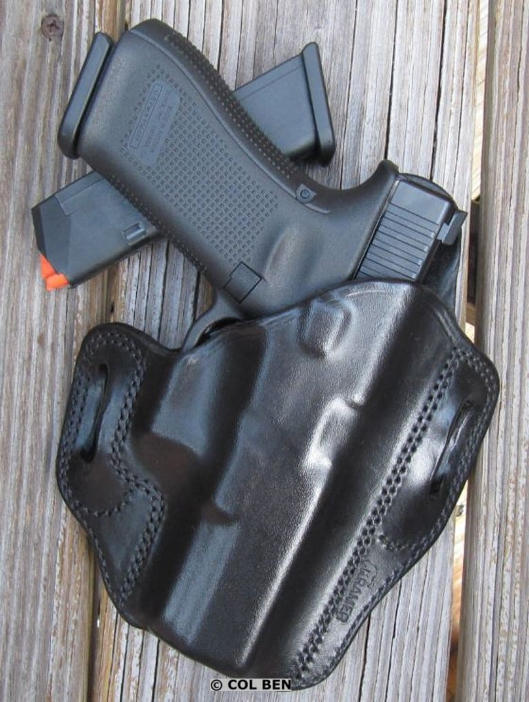 Kramer Handgun Leather OWB Leather Belt Scabbard Holster with Glock 17- Gen 5