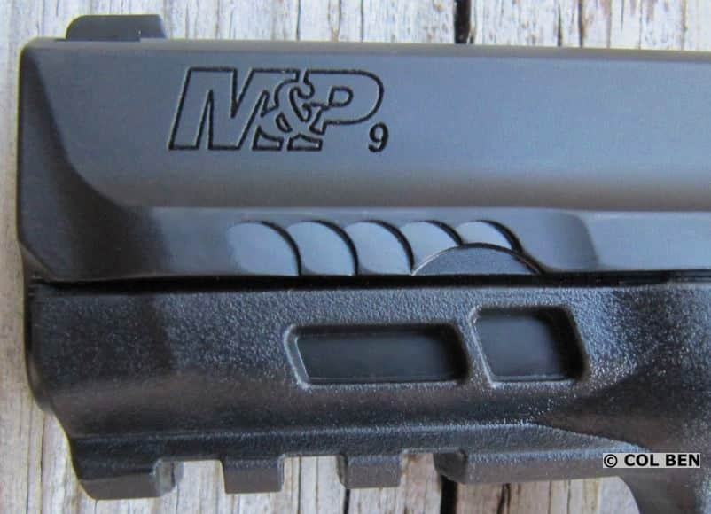 S&W M&P M2.0 Compact 9mm Front Slide Scalloped Serrations & Dust Cover Windows to View Steel Chassis