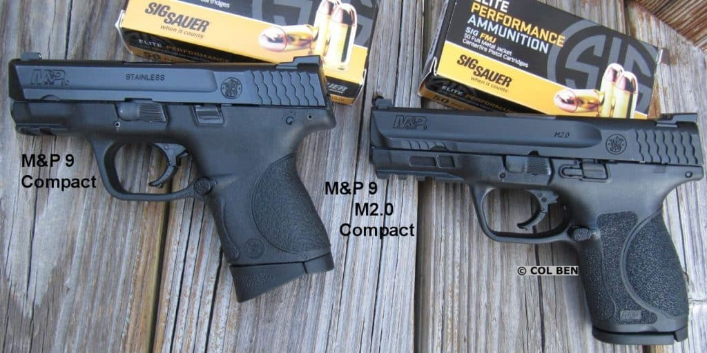 "M&P 9 Compact (Left- probably the new ""Subcompact"") & Enhanced M&P 9 M2.0 Compact (Right)"