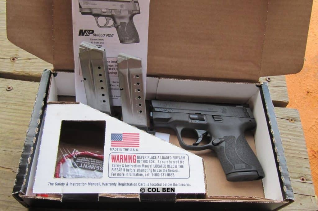 Smith-Wesson M&P Shield M2.0 9mm with Night Sights in box with three magazines, lock, instruction manual