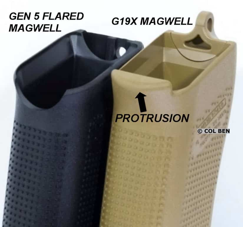Gen 5 Flared Magwell (left) Compared to G19X Non-Flared Magwell (right) with Protrusion