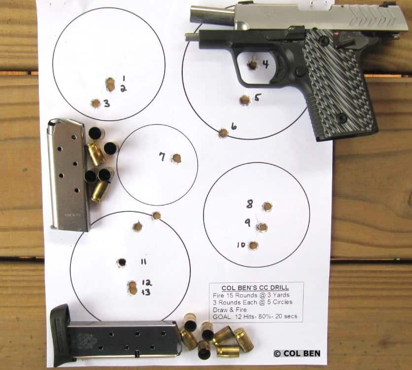 Target Hits for the Springfield 911 .380 with My Concealed Carry Drill.