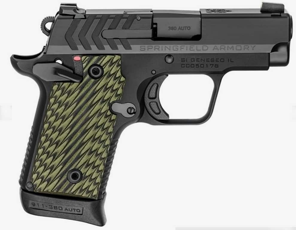 Springfield-Armory 911 .380 ACP - Black Nitride Option - Green and Black Grips