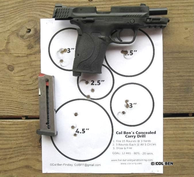 380 Shield EZ Target Hits: 15 rounds - 5 Circles @ 3 Hits Each - Draw and Rapid Fire - 3 Yards