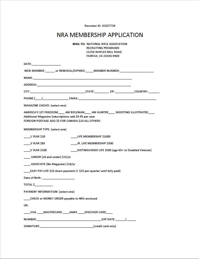 NRA Membership Application