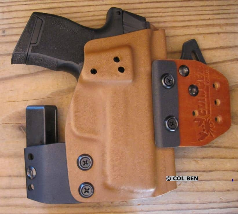 Clinger Holsters' Kydex and Leather OWB Holster Converts to an IWB Holster for the Sig P365