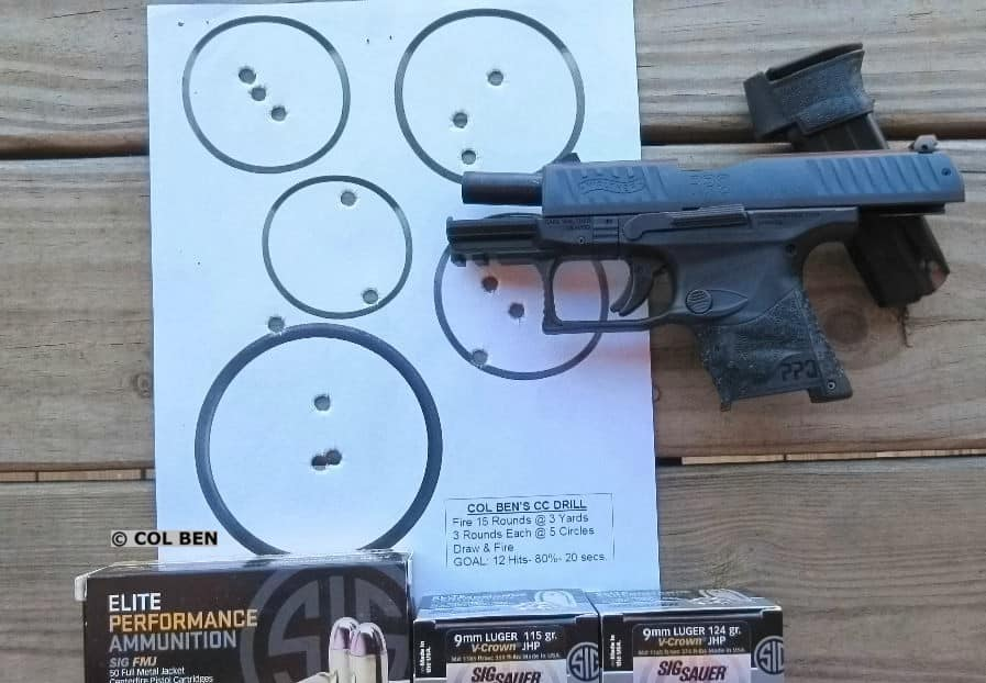 PPQ M2 SC 15 Target Hits (1 Miss) at 3 Yards from Draw and Rapid Fire in 16 Seconds