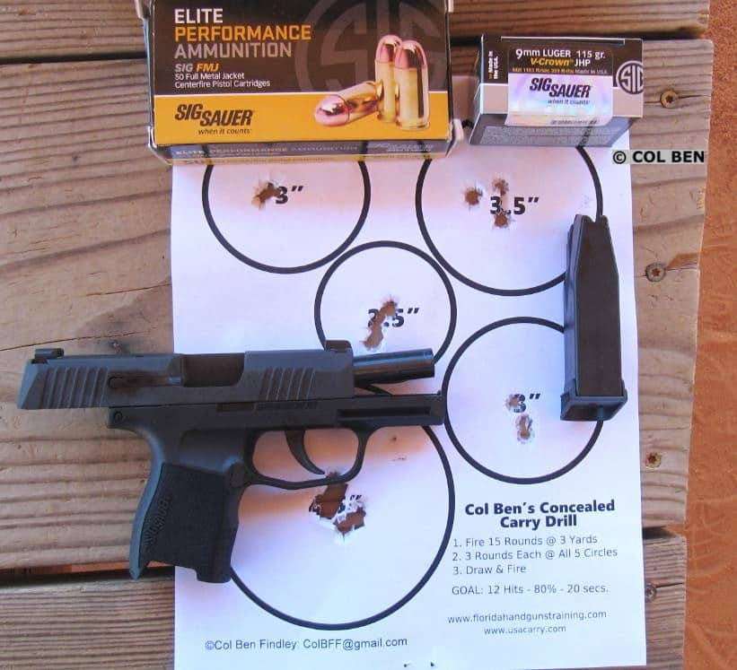 Sig Sauer P365 9mm - 15 Draw & Rapid-Fire Hits at Close Combat Distance Three Yards