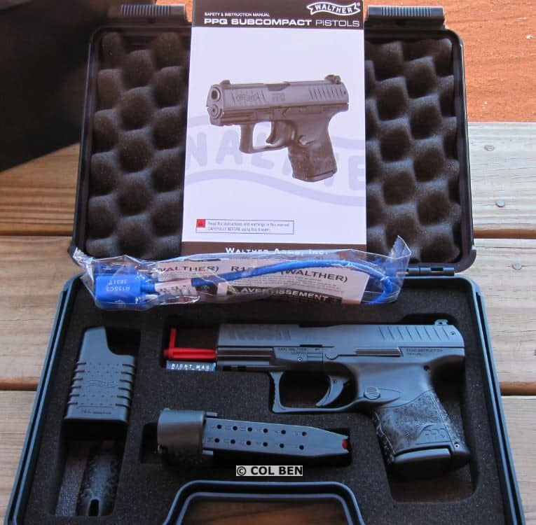Walther PPQ M2 SC 9mm in a lockable hard case with 2 magazines, loader, interchangeable backstraps, manual, & lock