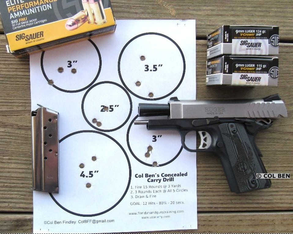 Ruger SR1911 Officer 9mm - 15 Hits Rapid Fire with Col Ben's Concealed Carry Drill at 5 Yards - Mag Change - 19 Seconds