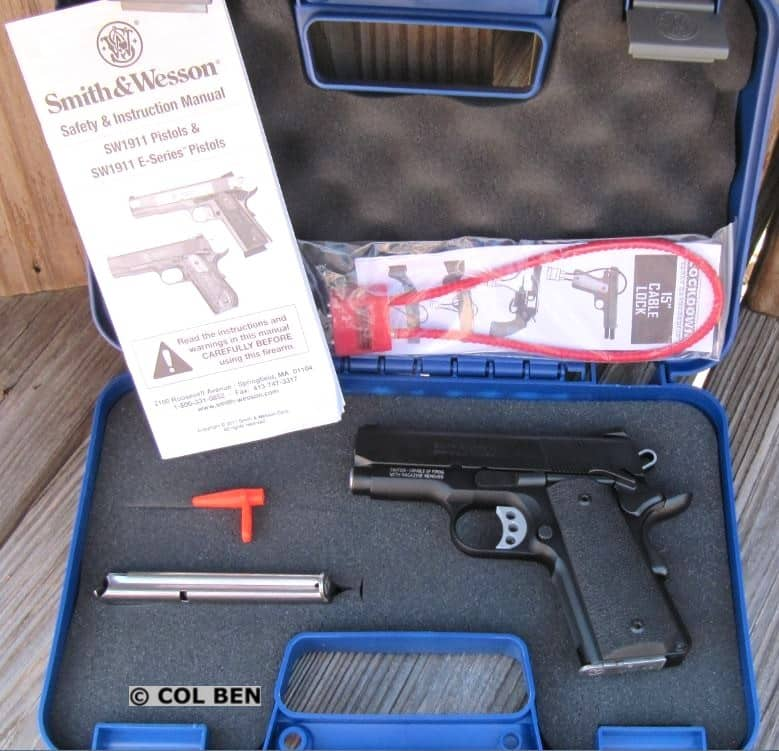 Hard Case with SW 1911 SC 9mm Pistol, 2 Mags, Lock, Instruction Manual & Bore Flag