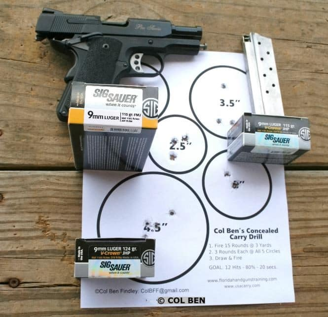 SW1911 Pro Series Sub-Compact 9mm Proved to be Accurate at 5 Yards with my Concealed Carry Drill- 15 HITS - 19 Seconds