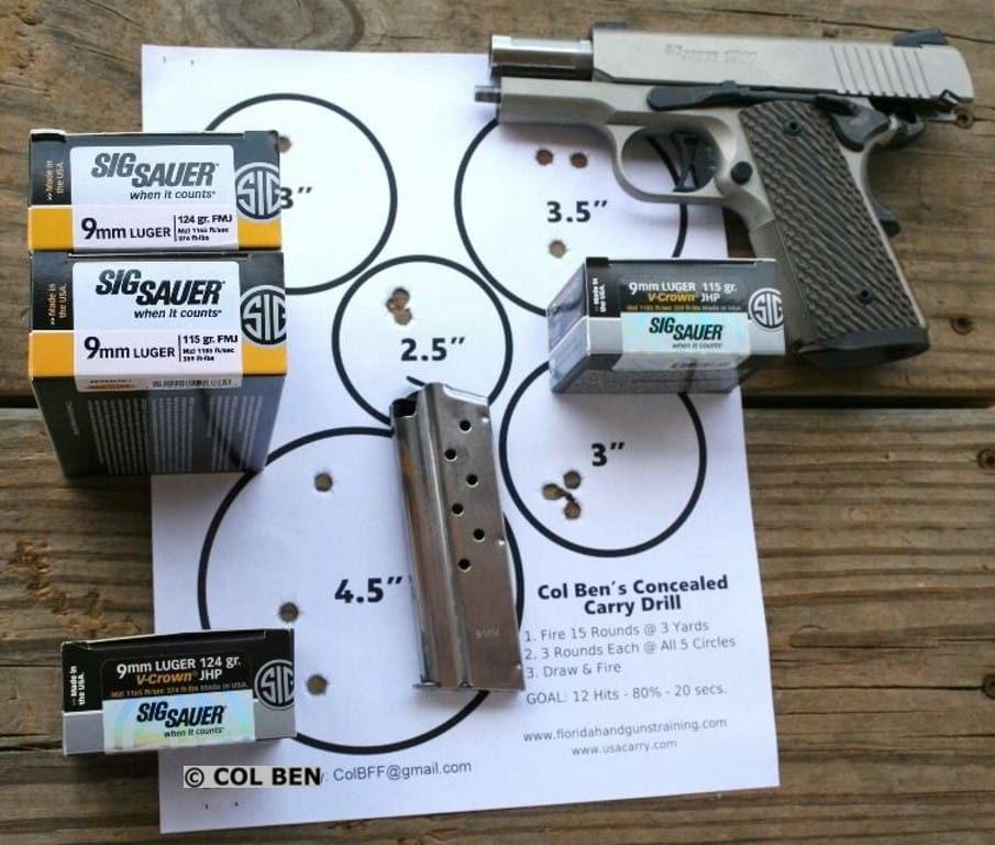 TARGET HITS - Sig Sauer 1911 Ultra Compact 9mm Sub-Compact- with Sig Sauer Elite Performance JHP & FMJ Rounds