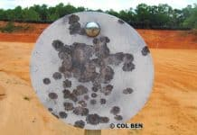 "Rogue 3/8""x 10"" AR500 Steel Gong Target with Tension Mount-Spring- About 100 Hits Shown and NO Craters"