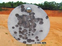 """Rogue 3/8""""x 10"""" AR500 Steel Gong Target with Tension Mount-Spring- About 100 Hits Shown and NO Craters"""