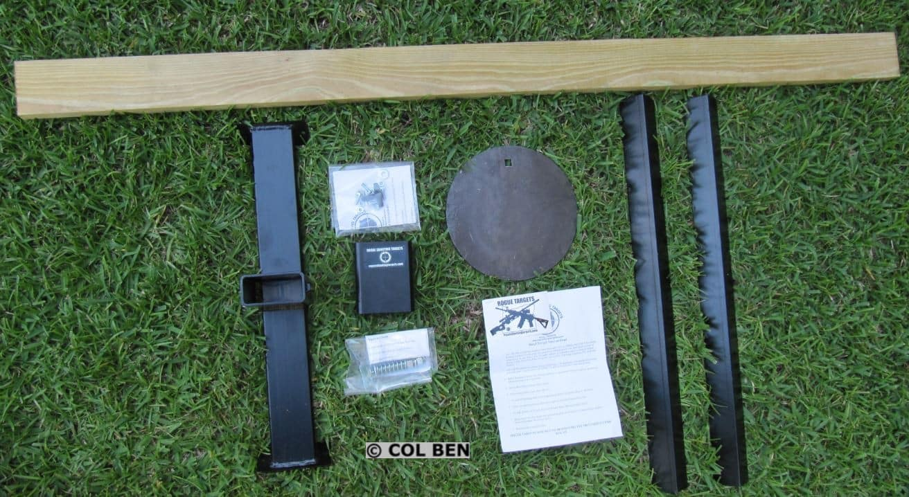 "Unassembled Rogue AR500 Steel Target Kit- 3/8""x10"" with Tension Mounting and 2x4 Wood Support"