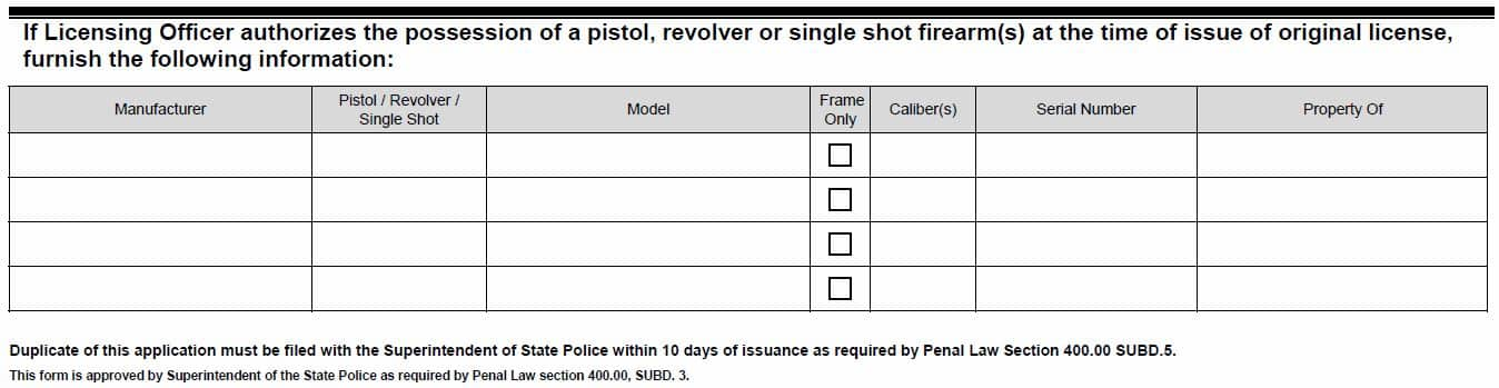 Required Handgun Data on The New York Pistol/Revolver License Application for Concealed Carry