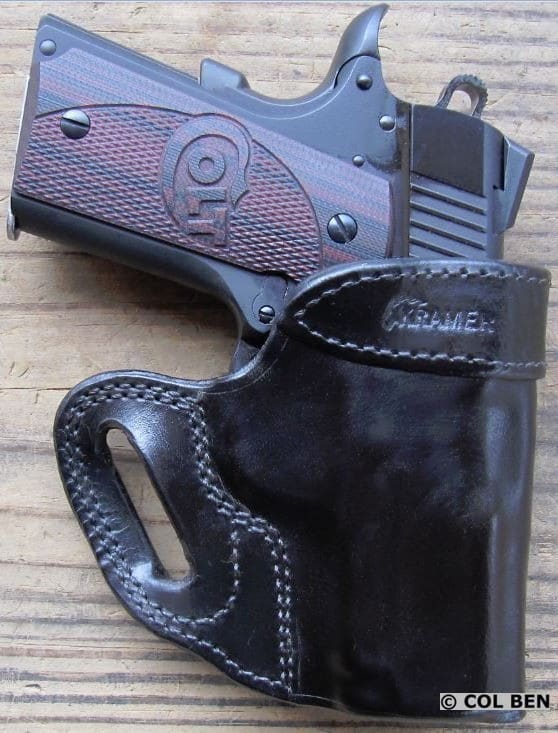 Kramer Handgun Leather OWB Vertical Scabbard Horsehide Leather Holster with Colt 1911 Defender