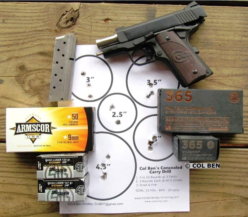 Colt 1911 Defender 9mm - Accurate for Self-Defense at 7 Yards with my Concealed Carry Drill - Draw & Fire-16 HITS- 20 Seconds