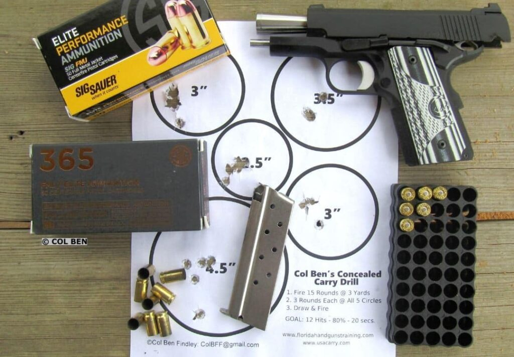 Dan Wesson 1911 ECO Sub-Compact 9mm: Very Accurate at Seven Yards with my Concealed Carry Drill- Easily 15 HITS + Extras