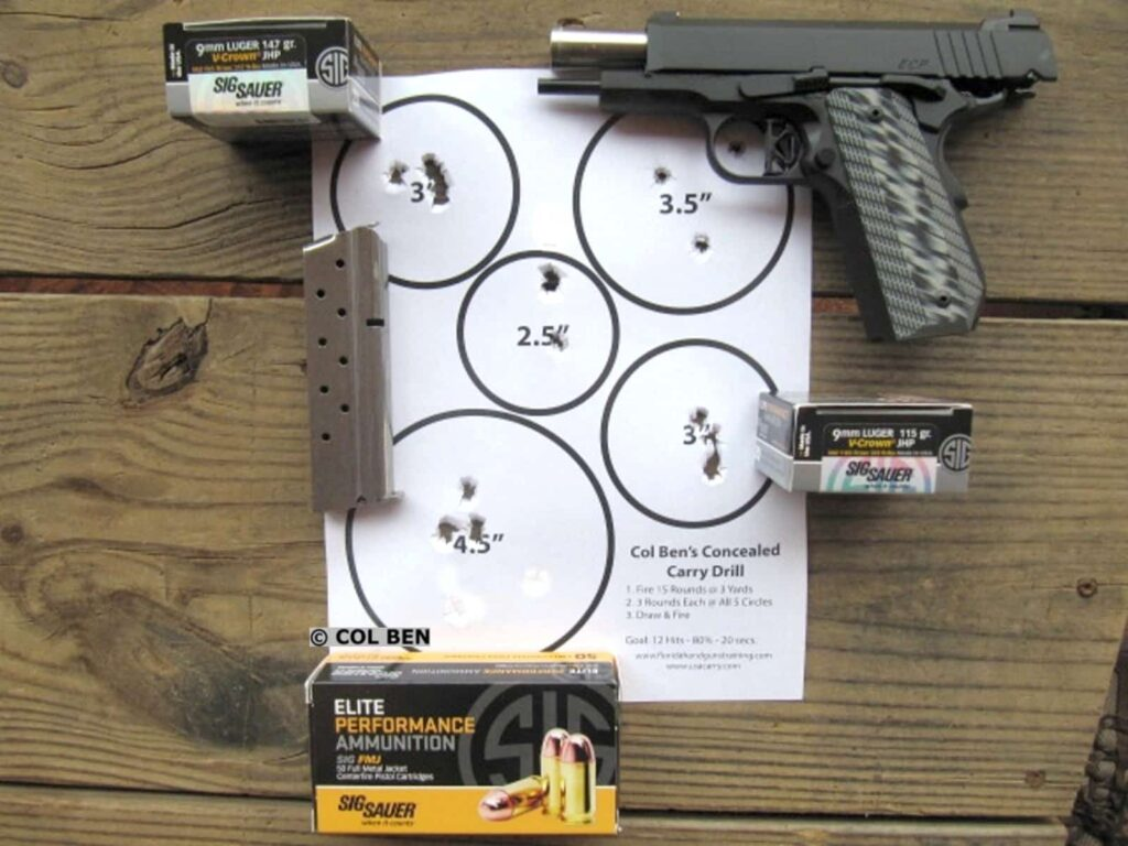 Col Ben's Concealed Carry Drill Target Hits - 15 at 7 Yards Draw - 18 Seconds - with Dan Wesson 1911 ECP Compact 9mm