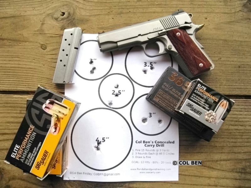 Dan Wesson Pointman Carry PM-C 9mm, Sig Sauer Premium Ammo & Col Ben's Concealed Carry Drill Target Hits - 15 at 7 Yards Draw- 19 Seconds