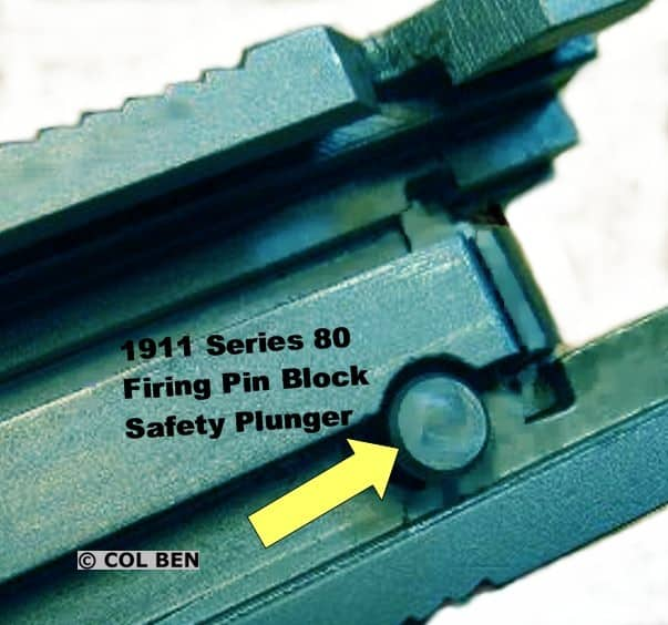 The Firing Pin Safety Plunger Can Be Seen At The Rear Underside Of The 1911 Series 80 Slide