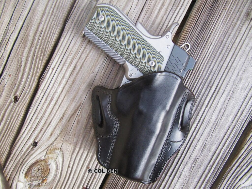 Kramer Leather Custom OWB Horsehide Leather Belt Scabbard Holster with Kimber Aegis Elite Pro 9mm Compact 1911