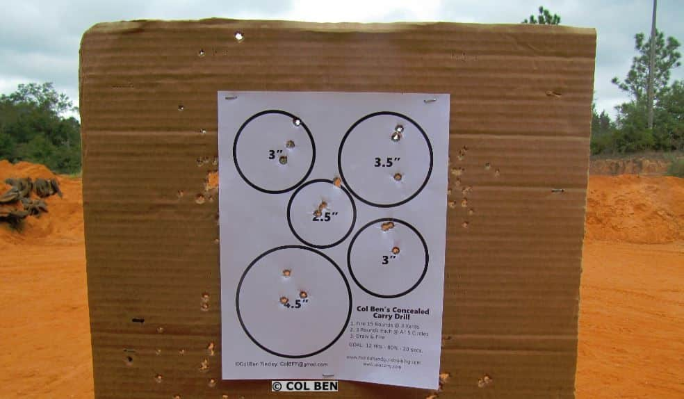 Target Hits Rapid Fire Using Col Ben's Concealed Carry Drill at Seven Yards with Magazine Change