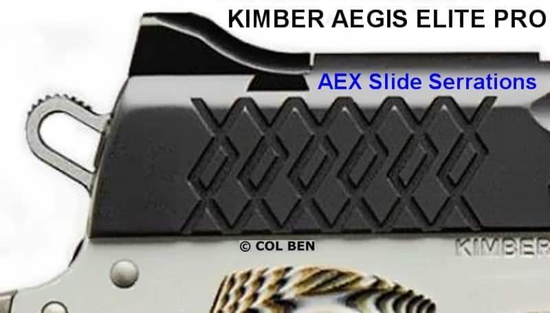 Unique Easy-to-Grasp AEX Serrations on 1911 Aegis Elite Pro Rear Slide