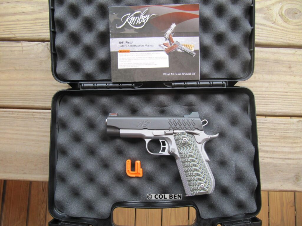 Kimber Aegis Elite Pro 9mm Compact 1911 in Hard Case with Mag, Lock, Instruction Manual & Bore Flag