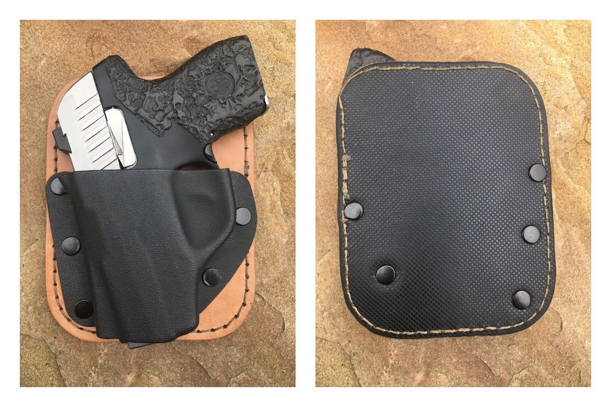 Front and back of the Pocket Rocket. The rubber side faces out in the pocket, masking the presence of a handgun.